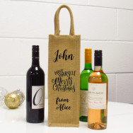Personalised Have Yourself A Merry Christmas Single Wine Bag