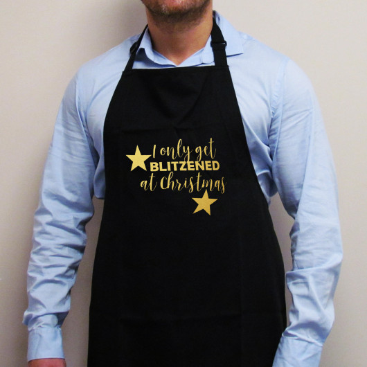 Personalised I Only Get Blitzened at Christmas Apron
