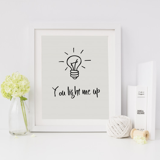 Personalised You Light Me Up Valentine's Print