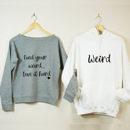 Personalised Find Your Weird Couples Sweatshirt Set