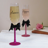 Personalised Glitter Bow Champagne Flute