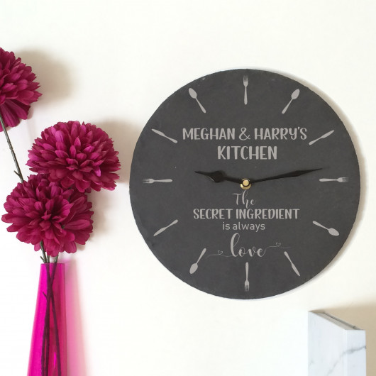 Personalised Secret Ingredient is Love Kitchen Slate Clock