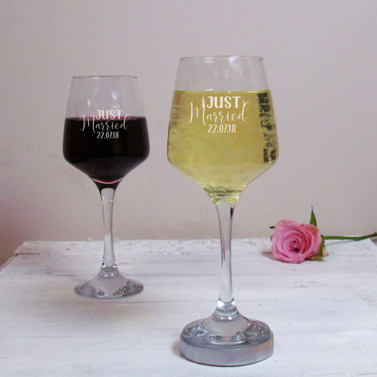 Personalised Just Married Wine Glass