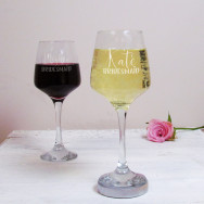 Personalised Bridesmaid Wedding Wine Glass