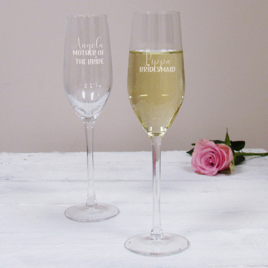 Personalised Bridesmaid Wedding Champagne Flute