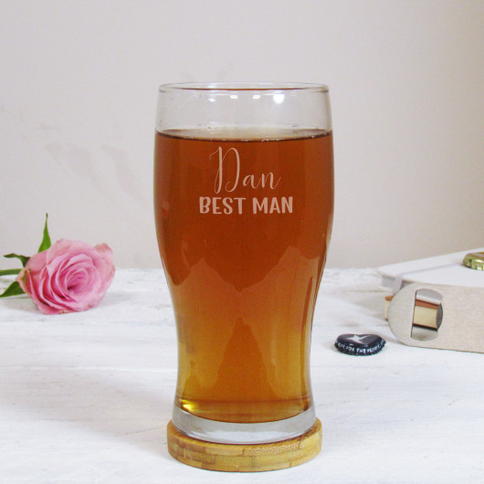Personalised Best Man Wedding Pint Glass