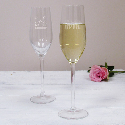 Personalised Bride Wedding Champagne Flute