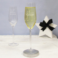 Personalised Groom Wedding Champagne Flute