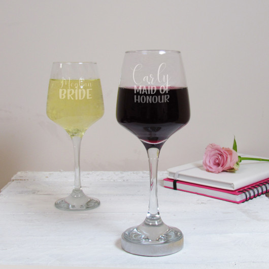 Personalised Maid of Honour Wedding Wine Glass