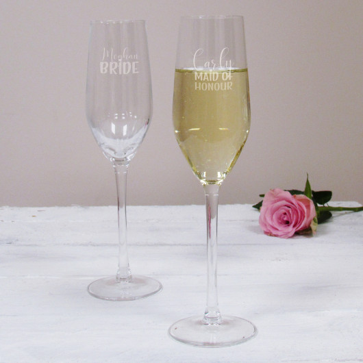 Personalised Maid of Honour Wedding Champagne Flute