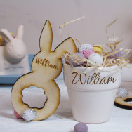 Personalised Easter Porcelain Pot Place Holder