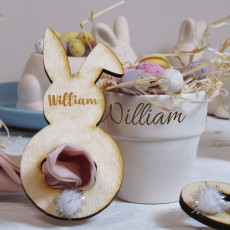 Easter Bunny Napkin Ring Name Place Setting