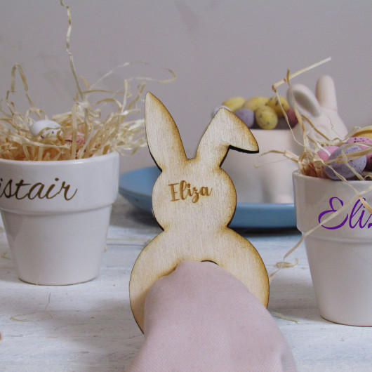Personalised Easter Bunny Napkin Ring Name Place Setting