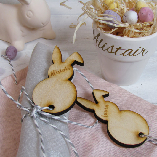 Personalised Easter Bunny Place Name Napkin Tag