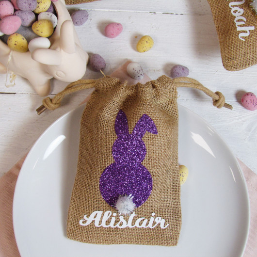 Personalised Bunny Easter Jute Bag Place Names