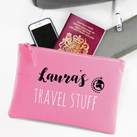 Personalised Travel Essentials Pouch Bag
