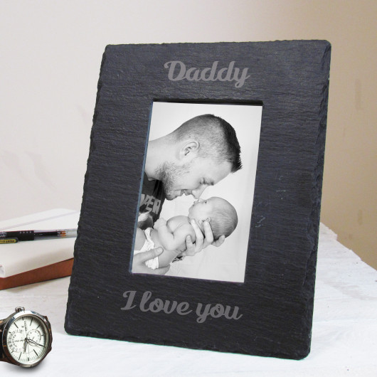 Personalised Father's Day Slate Photo Frame