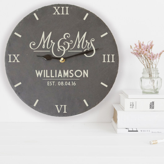 Personalised Mr And Mrs Slate Clock