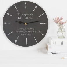 Personalised Kitchen Slate Clock - Knife & Fork Design
