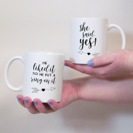 Personalised Engagement Gift Mug Set