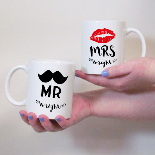 Personalised Moustache & Lips Wedding Mug Set