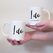 Personalised I Do Wedding Mug Set