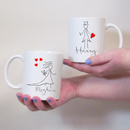 Personalised Pencil Mr & Mrs Wedding Mug Set