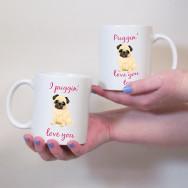 Personalised Puggin' Love You Couples Mug Set