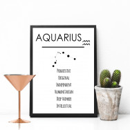Personalised Horoscope Monochrome Print
