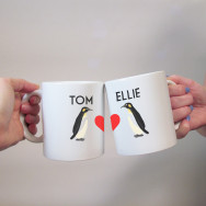 Personalised Penguin Love Couples Mug Set