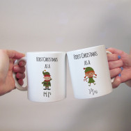 Personalised First Christmas Mr & Mrs Elf Mug Set