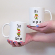 Personalised Elfin Love You Christmas Mug Set