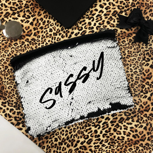 Personalised Personalised sequin switch clutch bag