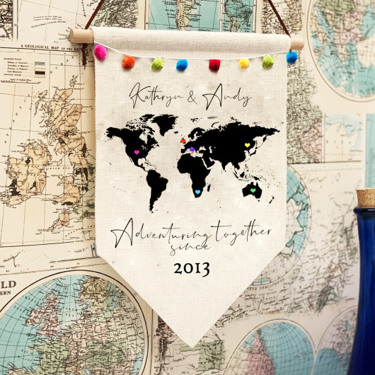 Personalised Adventuring Together Since Pennant Flag