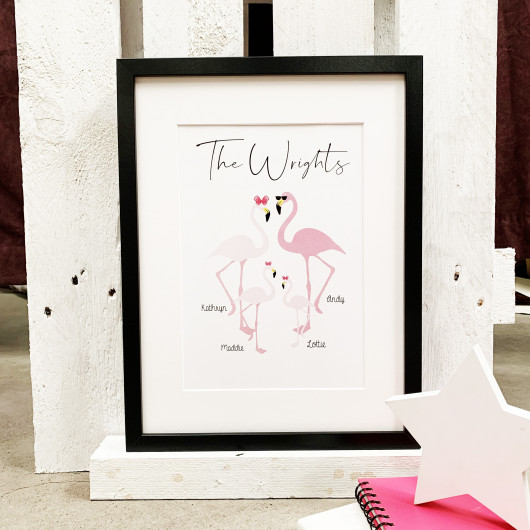 Personalised A Flamboyance Of Flamingoes Personalised Family Print