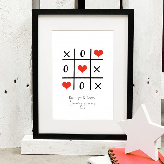 Personalised Tic Tac Toe Heart Couples Print
