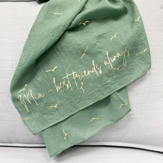 Personalised Printed Message Personalised Gold Seagull Print Scarf