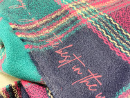 Personalised Personalised Message Multicolour Checked Blanket Scarf