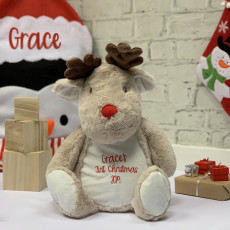 Personalised First Christmas Reindeer Soft Toy And Pyjama Case