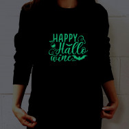 Personalised Happy Hallo..Wine Halloween Glow In The Dark Sweatshirt