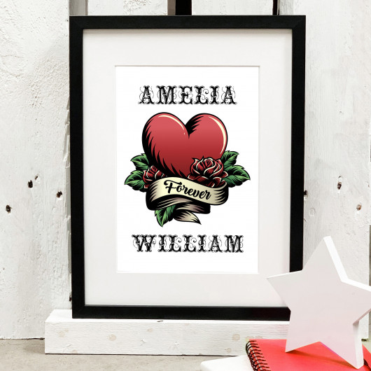 Personalised Tattoo Style Couples Print
