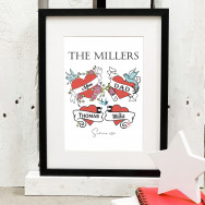 Personalised Personalised Family Tattoo Style Print