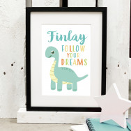 Personalised Follow Your Dreams Dinosaur Print