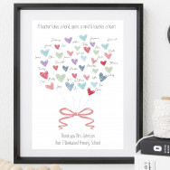 Personalised Personalised Teacher Gift Heart Print