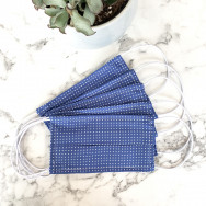 Personalised Pack Of Five Steel Blue Polka Dot 100% Cotton Facemask