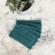 Personalised Pack Of Five Teal Pin Spot 100% Cotton Facemask