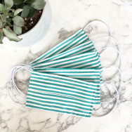 Personalised Pack Of Five Striped Turquoise 100% Cotton Facemask