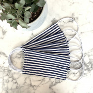 Personalised Pack Of Five Striped Navy 100% Cotton Facemask