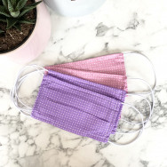 Personalised Pack Of Four Lilac And Pink 100% Cotton Face Mask