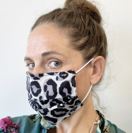 Personalised Grey And Black Leopard Print 100% Cotton Face Mask